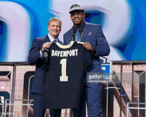 The New Orleans Saints select UTSA Defensive End Marcus Davenport fourteenth overall during the first round of the NFL Draft on April 26, 2018 at...