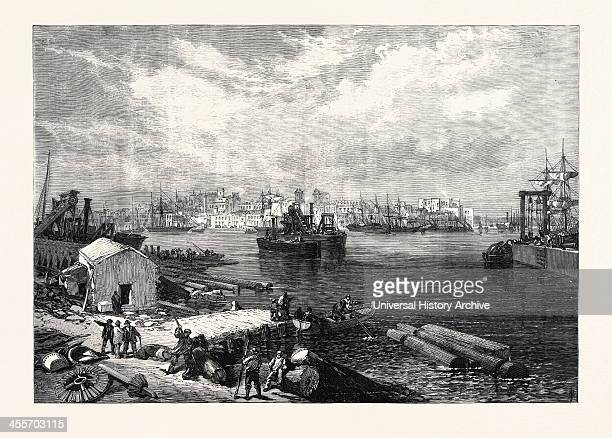 The New Overland Route To India: Town And Port Of Brindisi, Italy, 1869.