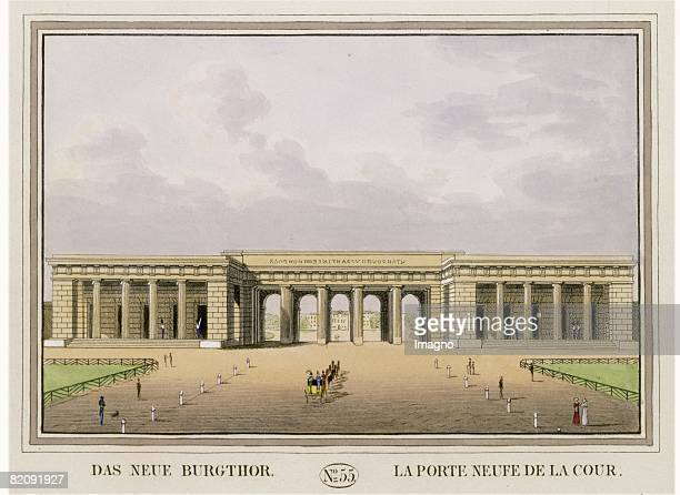 The new Palace Gate Coloured engraving Picture taken off the book Les principaux batiments et monuments de Vienne by Tranquillo Mollo Vienna 1825...