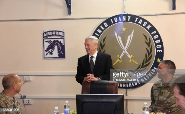 The new Pentagon chief and US Secretary of Defence James Mattis meets with commanders from the USled coalition fighting the Islamic State group in...