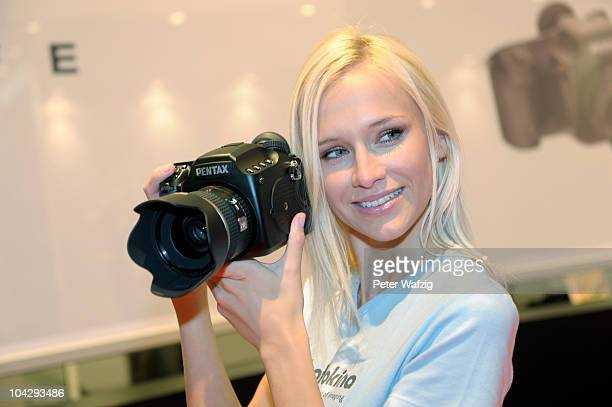 The new Pentax 645D is presented during the press preview of the Photokina 2010 trade fair on September 20 2010 in Cologne Germany The photokina is...