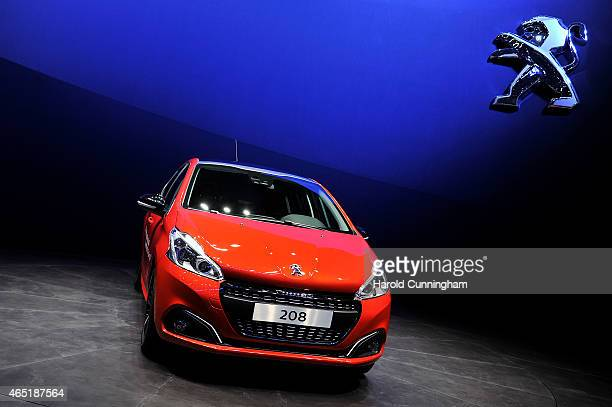 The new Peugeot 208 is shown during the 85th International Motor Show on March 3 2015 in Geneva Switzerland The 85th International Motor Show held...