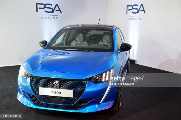 The new Peugeot e208 is presented at the French carmaker PSA Groupe headquarters in RueilMalmaison on February 26 2019