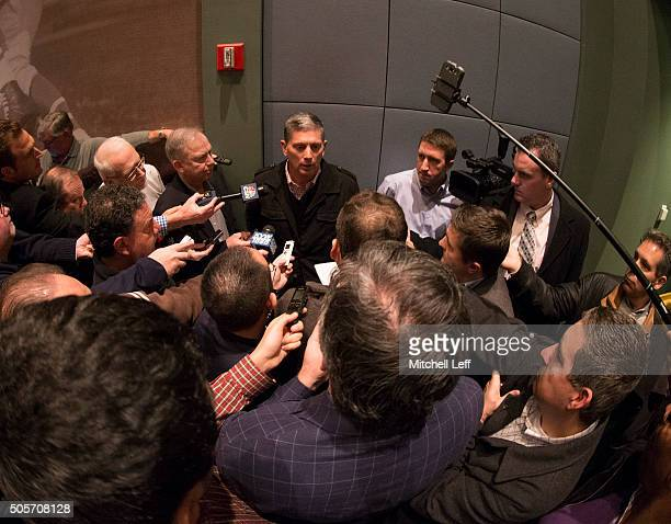 The new Philadelphia Eagles defensive coordinator Jim Schwartz talks to the media on January 19 2016 at the NovaCare Complex in Philadelphia...