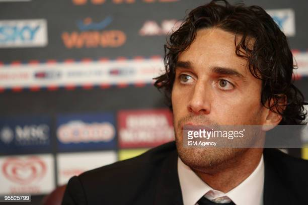 The new player of AS Roma Luca Toni speaks to the media during the press conference before the Friendly Match between Cisco and Roma at Stadio...