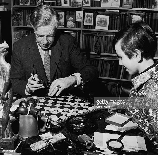 The new Poet Laureate Cecil Day Lewis playing draughts with his son Daniel 5th January 1968