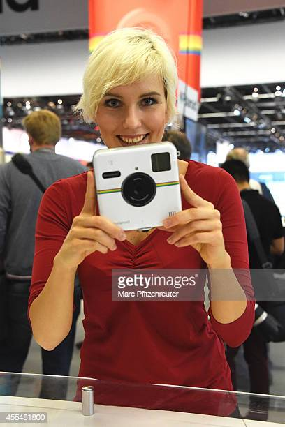 The new Polaroid Socialmatic camera is presented during the press preview of the Photokina 2014 trade fair on September 15 2014 in Cologne Germany...