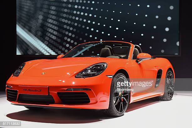 The new Porsche AG 718 Boxster vehicle is displayed during the 2016 New York International Auto Show in New York US on Wednesday March 23 2016 Nearly...