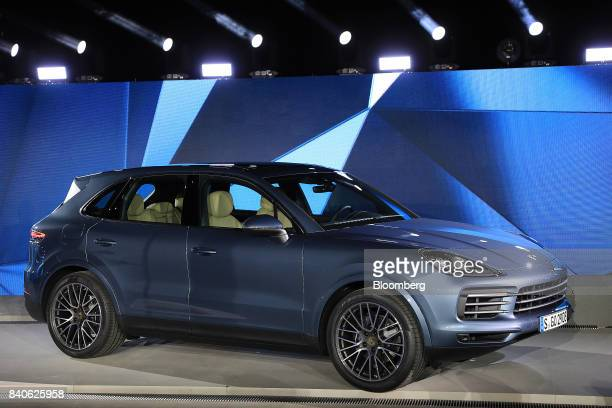 The new Porsche AG Cayenne sport utility vehicle stands as it is unveiled during a launch event in Stuttgart Germany on Tuesday Aug 29 2017 The...