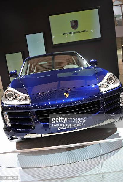 The new Porsche Cayenne diesel is displayed at the German luxury car maker during the first media day of the 79th Geneva Car Show on March 3 2009 in...