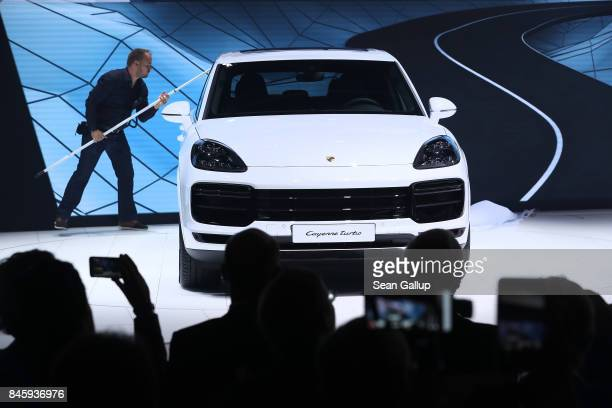 The new Porsche Cayenne Turbo stands on display at the 2017 Frankfurt Auto Show on September 12 2017 in Frankfurt am Main Germany The Frankfurt Auto...