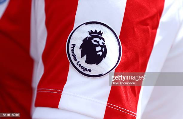 The new Premier League logo is seen on the Stoke City shirt prior to the Barclays Premier League match between Stoke City and West Ham United at the...