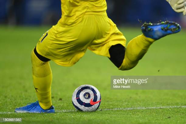 The new Premier League match ball is used during the Premier League match between Brighton & Hove Albion and Crystal Palace at American Express...