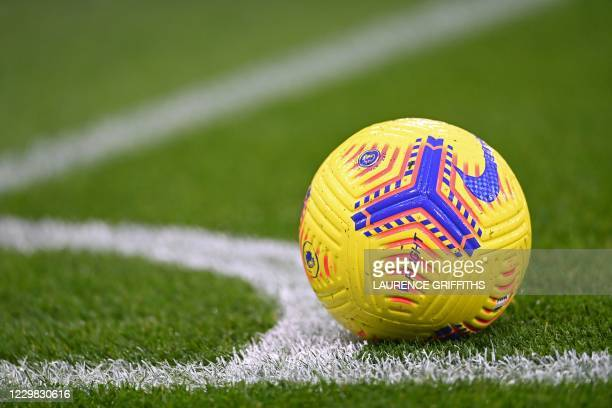 The new Premier League winter football, the Hi-Vis Nike Flight is pictured ahead of the English Premier League football match between Manchester City...