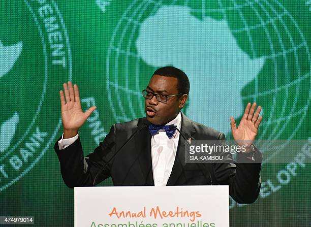 The new president of the African Development Bank Akinwumi Adesina delivers a speech on May 28 2015 in Abidjan following his election at the AfDB...