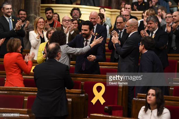 The new President of the Catalan Parliament Roger Torrent is congratuled after being elected at the Parliament of Catalonia on January 17 2018 in...