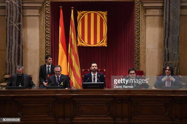 The new President of the Catalan Parliament Roger Torrent looks on at the Parliament of Catalonia on January 17 2018 in Barcelona Spain The...