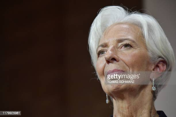 The new President of the European Central Bank Christine Lagarde speaks at an event honouring former German finance minster Wolfgang Schaeuble hosted...