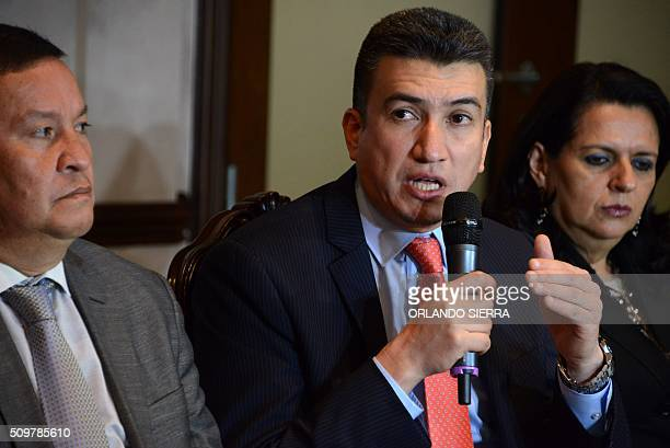 The new president of the Honduran Supreme Court for the 20162023 term Rolando Argueta answers questions from the press on February 12 2016 in...