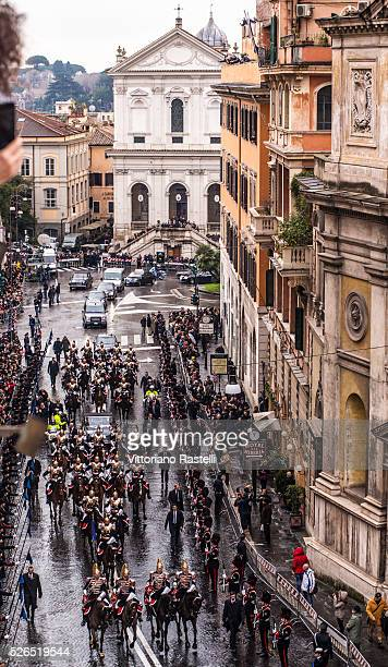 The new president of the Italian Republic Sergio Mattarella accompanied by the Prime Minister Matteo Renzi escorted by Corazzieri horse goes to the...