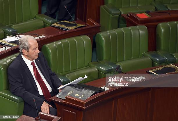 The new president of the Tunisian Assembly Mohamed Ennaceur attends a plenary session on December 4 2014 in Tunis The 217 members of parliament who...