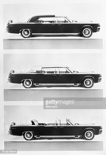 The new Presidential Continental is shown here in three stages The car is a Lincoln Continental which literally was cut in half reinforced and...