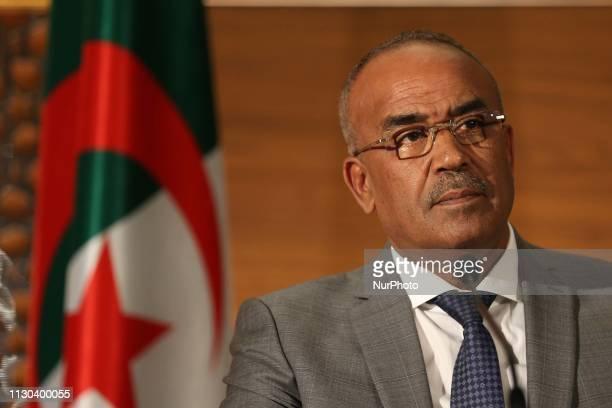The new Prime Minister Noureddine Bedoui hosts a press conference in Algiers on March 14 2019 Algeria's interior minister Noureddine Bedoui was named...