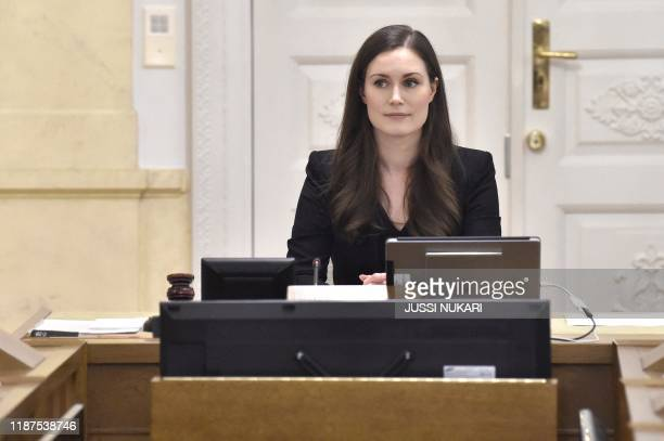 The new Prime Minister of Finland Sanna Marin chairs her first government meeting as the Premier in Helsinki Finland on December 10 2019 Finland's...