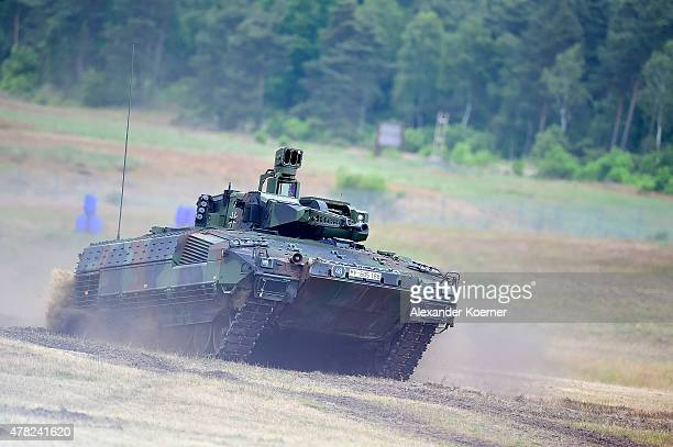 The new Puma light tank is seen during the official handover ceremony of the tank to the German armed forces the Bundeswehr in Unterluess on June 24...