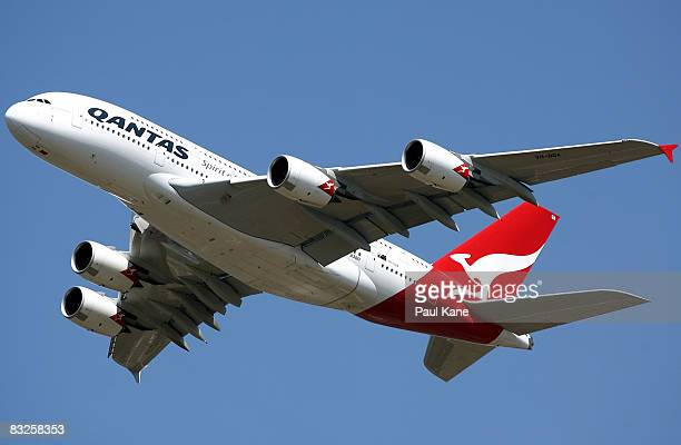 The new Qantas A380 departs from Perth for the first time following it's arrival in Australia on September 21 at the Perth International Airport on...