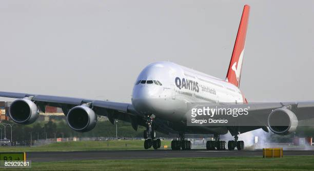 The new Qantas A380 flagship the 'NancyBird Walton' the first commercial A380 to join the Qantas fleet arrives at Sydney Domestic Airport on...