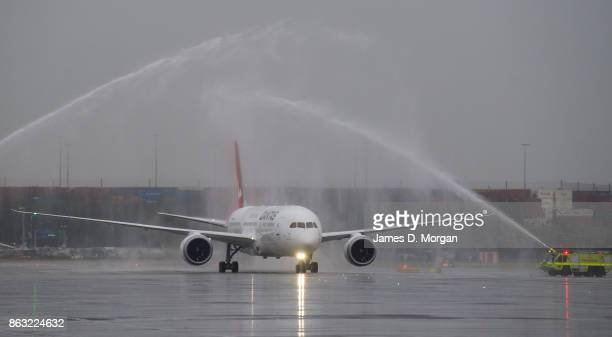 The new Qantas Boeing 787 Dreamliner arrives in Sydney for the first time on October 20 2017 in Sydney Australia