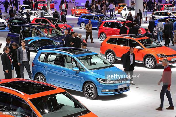 The new R Line stands at the VW stand at the 2015 IAA Frankfurt Auto Show during a press day on September 16 2015 in Frankfurt Germany The IAA...