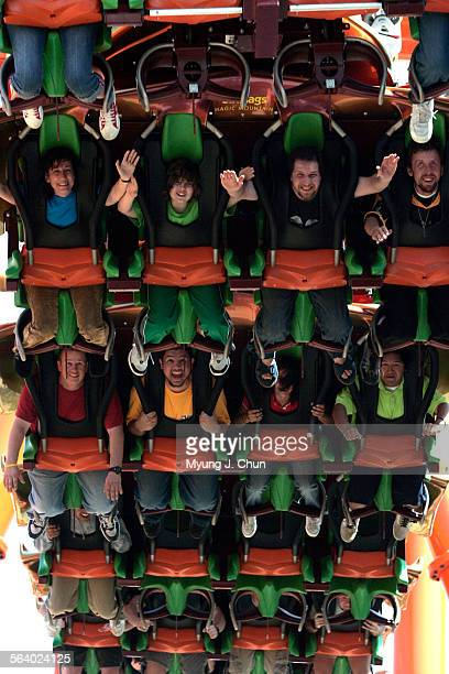 The new roller coaster Tatsu at Six Flags Magic Mountain in Valencia takes riders on a looping twisting ride all face down Photo shot on Tuesday May...