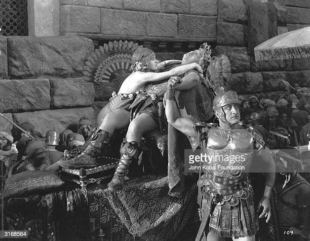 The new Roman governor Gratus is knocked unconscious by a falling tile in a scene from the Roman epic 'BenHur' directed by Fred Niblo