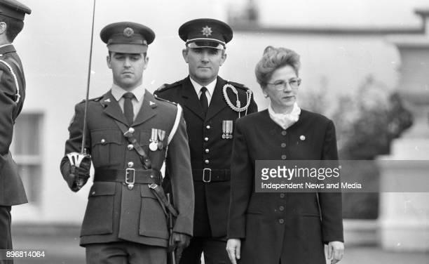 The new Romanian Ambassador to Ireland H E Mrs Elena Zamfirescu inspects the Guard of Honour at Aras an Uachtarain Phoenix Park