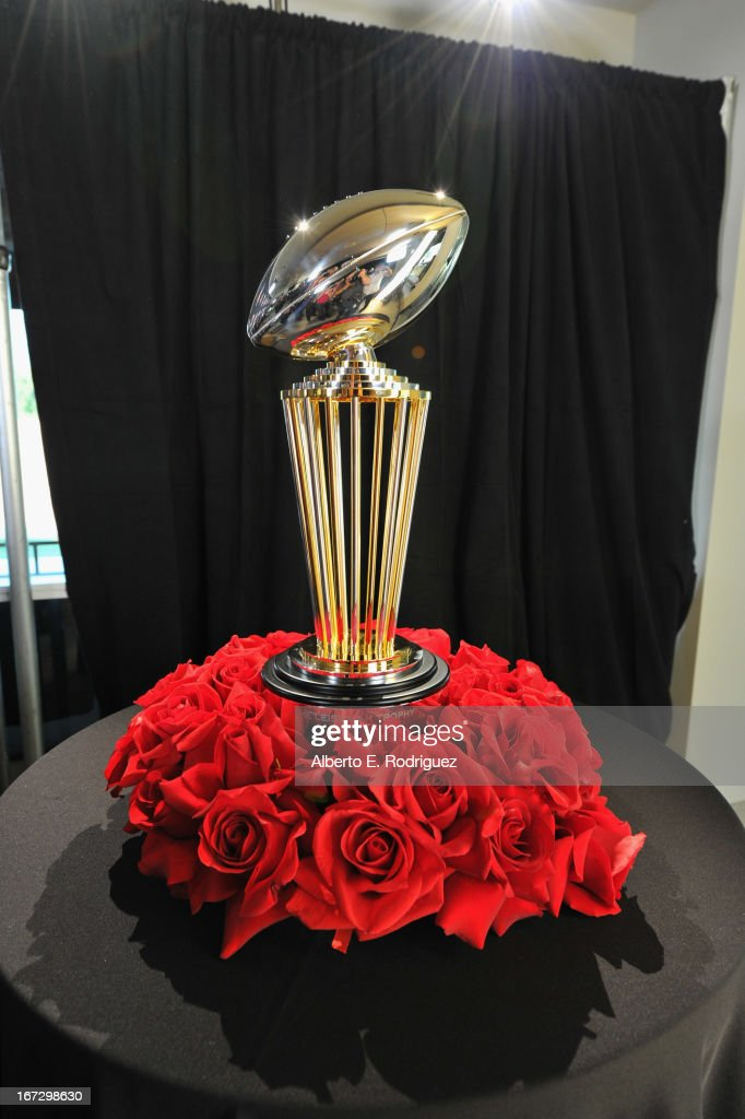 The new Rose Bowl Trophy at the 100th Rose Bowl Game press conference at Rose Bowl on April 23, 2013 in Pasadena, California.
