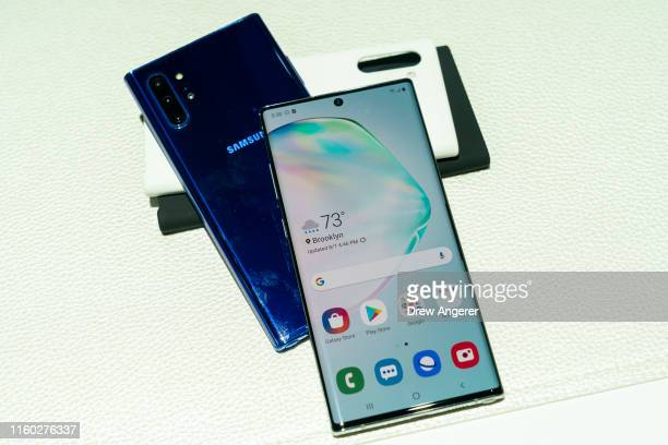 The new Samsung Galaxy Note 10 smartphone is displayed during a launch event at Barclays Center on August 7 2019 in the Brooklyn borough of New York...