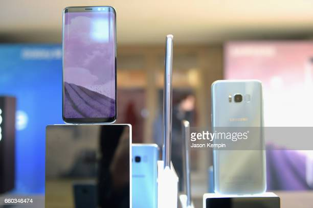 The new Samsung Galaxy S8 smartphone on display during Samsung Creators Unpacked at Lincoln Center on March 29 2017 in New York City