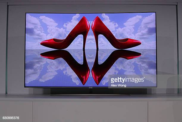 The new Samsung QLED TV is on display during a press event for CES 2017 at the Mandalay Bay Convention Center on January 4 2017 in Las Vegas Nevada...