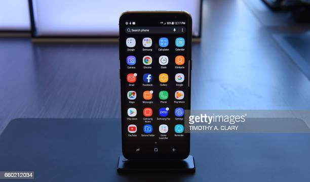 The new Samsung S8 is on display for the press after a news conference in New York on March 29 2017 Samsung on Wednesday unveiled its new Galaxy S8...