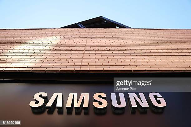 The new Samsung store stands in lower Manhattan on October 11 2016 in New York City Less than two months after its launch Samsung Electronics has...