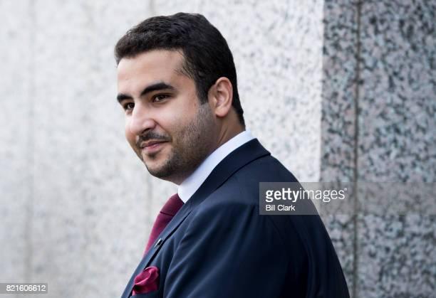 The new Saudi ambassador to The United States Prince Khalid bin Salman bin AbdulAziz is seen leaving the Hart Senate Office Building on Monday July...