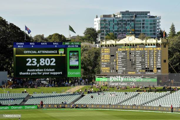 The new scoreboard is pictured showing the days attendance figure during day one of the First Test match in the series between Australia and India at...