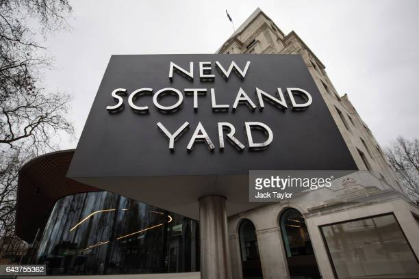 The New Scotland Yard logo is displayed on a revolving sign outside the Curtis Green Building, the new home of the Metropolitan Police on February...