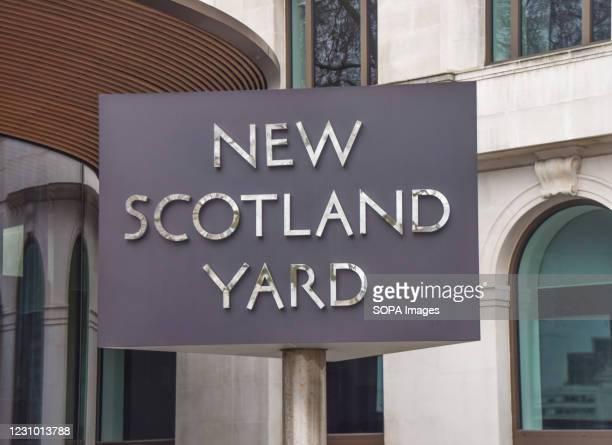 The New Scotland Yard sign, London.