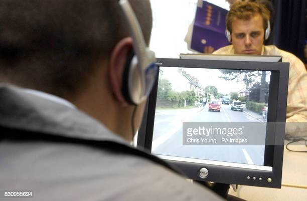 The new screen test for learner drivers is put through it's paces after being launched by Alistair Darling the Secretary of State for Transport at...