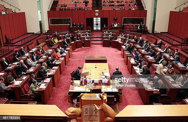 The new senate votes on a new President of the Senate at Parliament on July 7 2014 in Canberra Australia Twelve Senators will be sworn in today with...