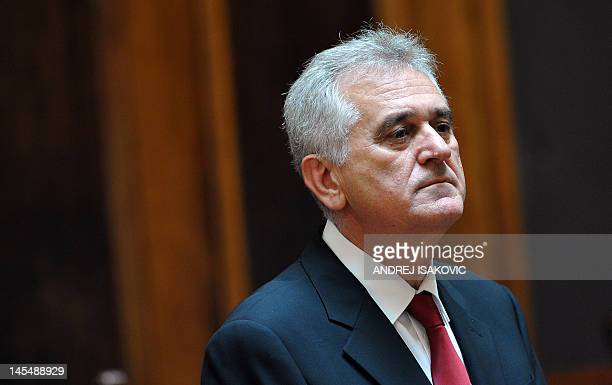 The new Serbian President Tomislav Nikolic gives a press conference at the National assembly building in Belgrade on May 31, 2012. Tomislav Nikolic,...