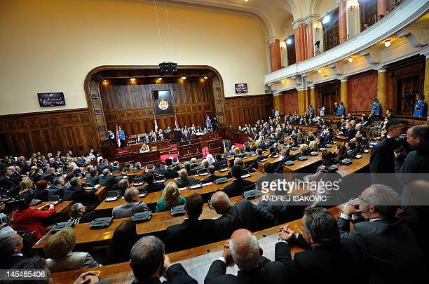The new Serbian President Tomislav Nikolic takes his oath of office arrives at the National Assembly building in Belgrade on May 31 2012 Nikolic...
